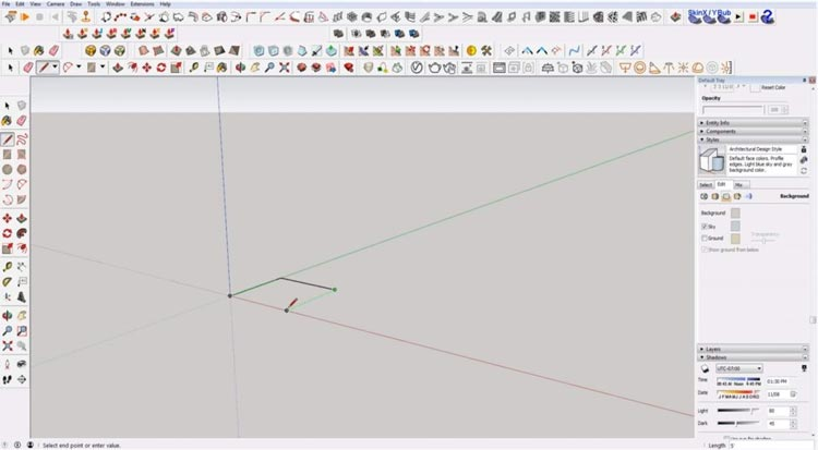 how to use sketchup for beginners, starting sketchup, sketchup tutorials, sketchup for beginners, draw line, lock to axis sketchup