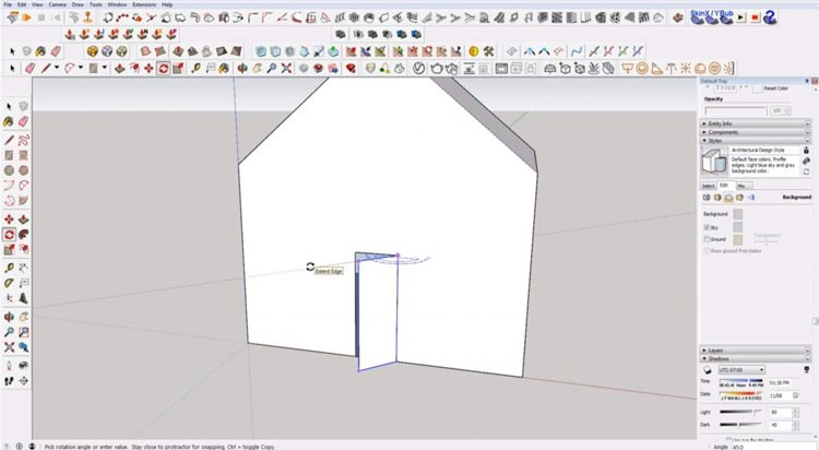 how to use sketchup for beginners, starting sketchup, sketchup tutorials, sketchup for beginners, rotate door