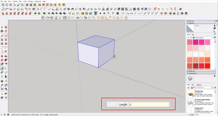 measure cube to scale in Sketchup, how to determine scale object size in sketchup, size object in sketchup, scale reference sketchup