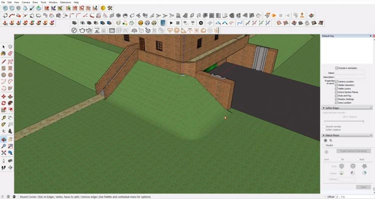 round corners of Sketchup site model, how to sketchup model maximum, how to efective using sketchup