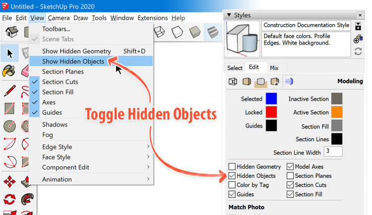 Hidden Geometry in sketchup 2020, how to get sketchup 2020 pro, sketchup 2020 pro for free