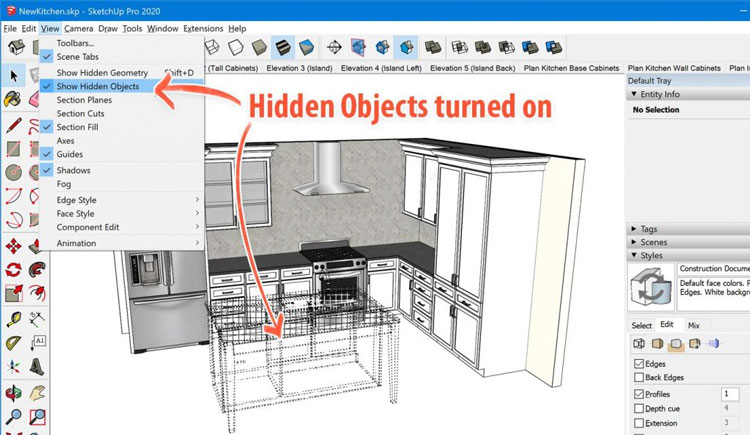 Hidden Objects in sketchup 2020, how to get sketchup 2020 pro, sketchup 2020 pro for free