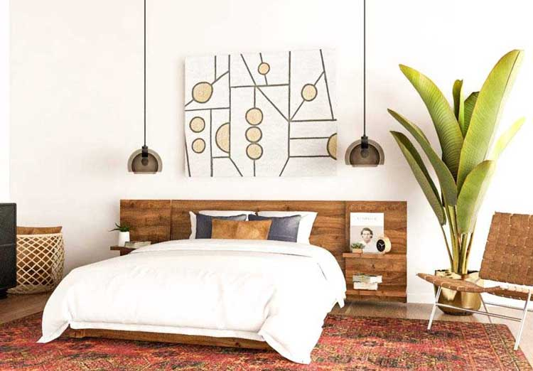 best bedroom ideas with mid-century style, bedroom styles, bedroom inspiration, simple modern mid-century bedroom, bedrooms integrated with nature, natural materials