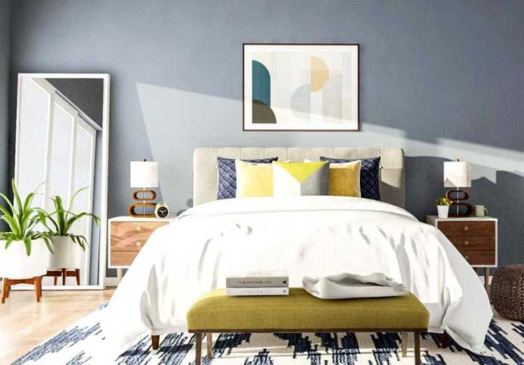 best bedroom ideas with mid-century style, bedroom styles, bedroom inspiration, simple modern mid-century bedroom, bedrooms integrated with nature, patterns and shapes for bedroom